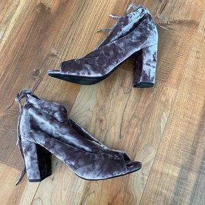 NWOT Report sakai velvet peep toe bootie bow heel